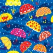 Seamless pattern with colorful umbrellas, clouds and rain drops  — Stock Vector
