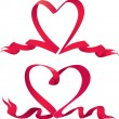 Set of two Red ribbons are made in heart shape. — Stock Vector