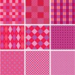 Set of plaid seamless patterns in pink colors for girls — Stock Vector