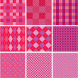 Set of plaid seamless patterns in pink colors for girls — Image vectorielle