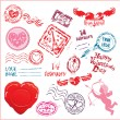 Collection of love mail design elements postmarks Valentines — Stock Vector