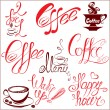 Set of coffee cups icons, stylized sketch symbols and hand drawn — Stock Vector