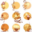 Stock Vector: Set of coffee cups icons, stylized sketch symbols for restaurant