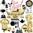 Cтоковый вектор: Set of cooking symbols, hand drawn pictures - food and chief sil