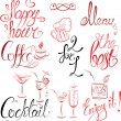 Set of hand written text: Happy Hour, Menu, Coffee, Cocktail , e — Cтоковый вектор