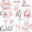 Stock Vector: Set of hand written text: Happy Hour, Menu, Coffee, Cocktail , e