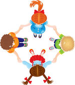 Four Kids Joining Hands to Form a Circle, isolated on white back — Stock Vector