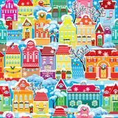 Seamless pattern with decorative colorful houses in winter time. — Vecteur