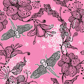 Seamless Floral Pattern With hand-drawn flowers and dragonflies — Stock Vector