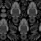 Seamless pattern with lace decorative owls — Stock Vector