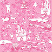 Seamless pattern with fairytale land - castles, lakes, roads, mi — Stock Vector