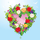 Heart shape is made of beautiful flowers - roses, pansies, bellf — Stock Vector
