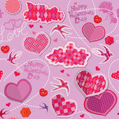 Valentines Day seamless pattern with hearts, clouds and birds ar — Stock Vector