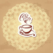 Coffee label over circle ornamental vintage background - hand dr — Stock Vector