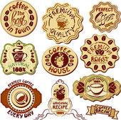 Set of coffee labels - hand drawn icons of cup and hand written — Stock Vector