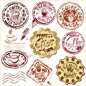 Collection of design elements - coffee cups icons, stylized sket — Stock Vector