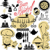 σετ μαγειρέματος σύμβολα, το χέρι που εικόνες - τροφίμων και επικεφαλής sil — Διανυσματικό Αρχείο