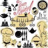Set van koken symbolen, hand getrokken foto's - voedsel en chief sil — Stockvector
