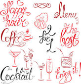 Set of hand written text: Happy Hour, Menu, Coffee, Cocktail , e — Stock Vector