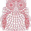 Decorative bird - owl is made of lace, isolated on white backgro — Stock Vector