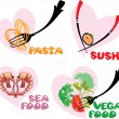 Set of Food Icons in hearts shapes: Japanese Cuisine - Sushi, It — Stock Vector