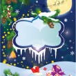 Christmas and New Year card with flying rein deers on sky backgr — Image vectorielle