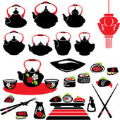 Set of asian food icons - teapot, sushi. — Stock Vector