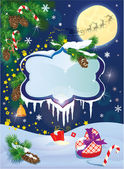 Christmas and New Year card with flying rein deers on sky backgr — Vector de stock