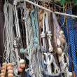 Close up old fishing tackle - rope, float — Stock Photo