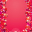 Valentine's day or Wedding background with Red hearts confetti.  — Stock Vector