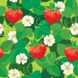 Seamless pattern. Strawberries in heart shapes with flowers and  — Stock Vector