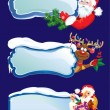 Set of horizontal banners with snowdrifts and icicles with Santa — Imagen vectorial