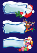 Set of horizontal banners with snowdrifts and icicles with Santa — Stok Vektör