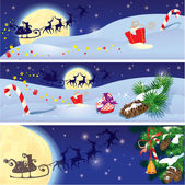 Set of Christmas and New Year horizontal banners with flying rei — Stock Vector