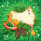 Christmas and New Year card with wooden rocking horse toy and fi — Vector de stock