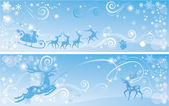 Set of Christmas and New Year horizontal banners with reindeers — Stock Vector