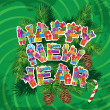 Abstract Happy New Year green background with fir tree branches — Stockvektor
