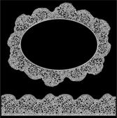 Lace oval frame and seamless stripe. Vintage white Doily isolate — Stock Vector
