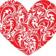 Red ornamental floral heart on white background. Element for yo — Stock Vector #34886433