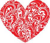 Červené okrasné Květinové srdce na bílém pozadí. prvek pro Jo — Stock vektor