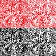 Set of swirl ornamental seamless patterns in white, red and blac — Stock Vector