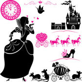 Fairytale Set - silhouettes of Cinderella, Pumpkin carriage with — Stock Vector