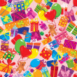 Seamless pattern with colorful gift boxes, presents, balloons an — Векторная иллюстрация