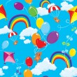 Seamless pattern with rainbows, clouds, colorful balloons, kite, — Stock Vector