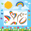 Different shapes of rainbows, clouds, sun, butterflies and flowe — Stock Vector