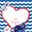 Funny Card with whale, anchor and empty frame for text on stripe — Imagen vectorial