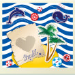 Funny Card with dolphin, whale, island with palms on stripe back — Векторная иллюстрация