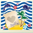 Funny Card with dolphin, whale, island with palms on stripe back — Stock vektor