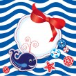 Funny Card with whale, buttons, bow and empty frame for text on — Векторная иллюстрация
