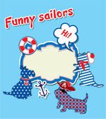 Card with funny scottish terrier dogs - sailors, anchor, lifebu — Stock Vector